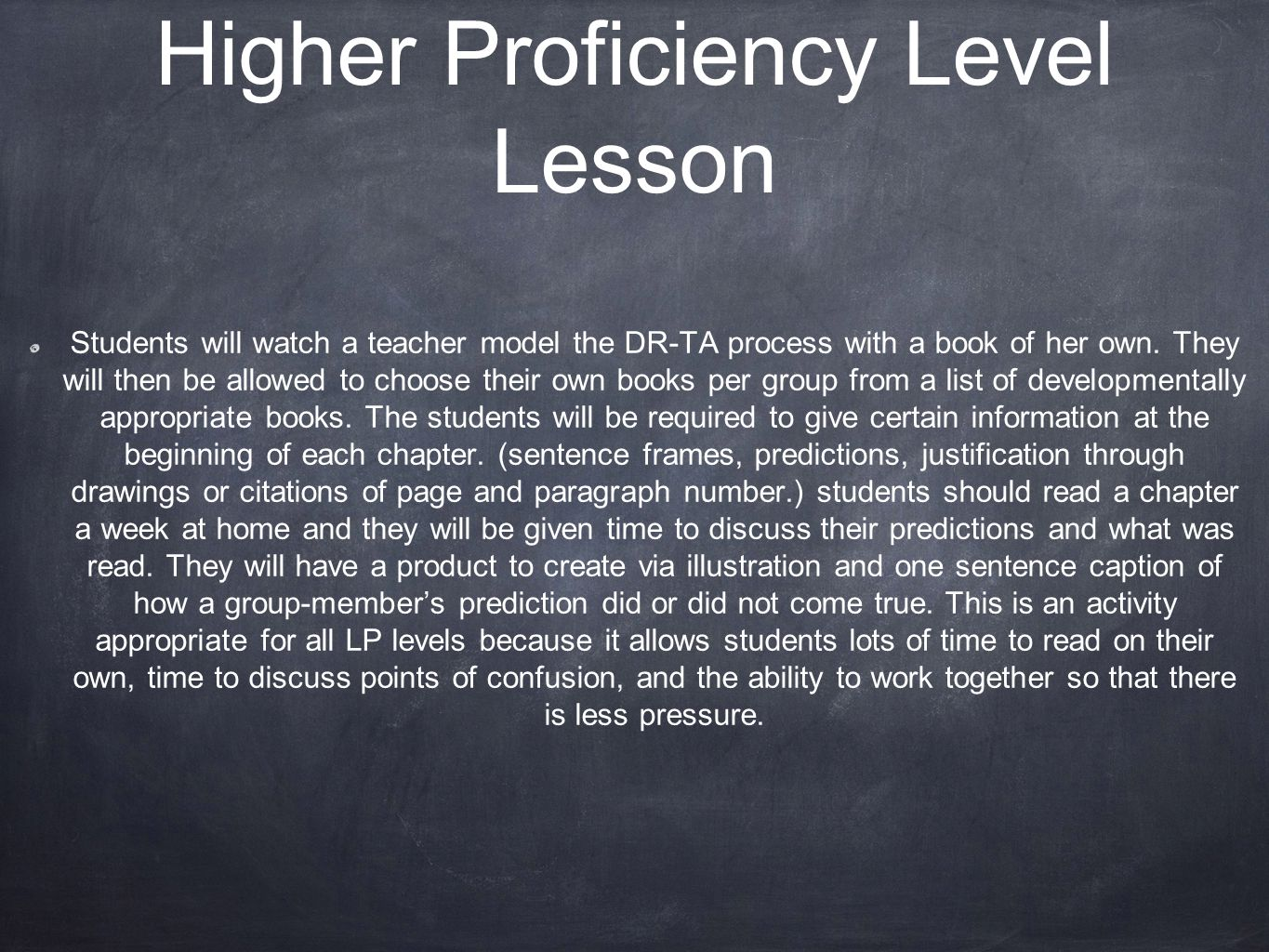 Higher Proficiency Level Lesson