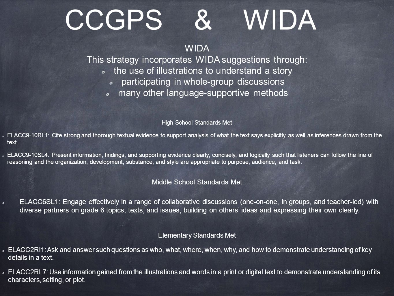 CCGPS & WIDA WIDA This strategy incorporates WIDA suggestions through: