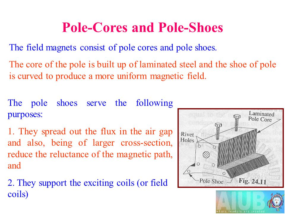 Pole-Cores and Pole-Shoes