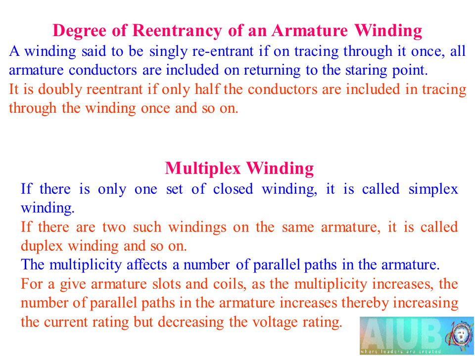 Degree of Reentrancy of an Armature Winding