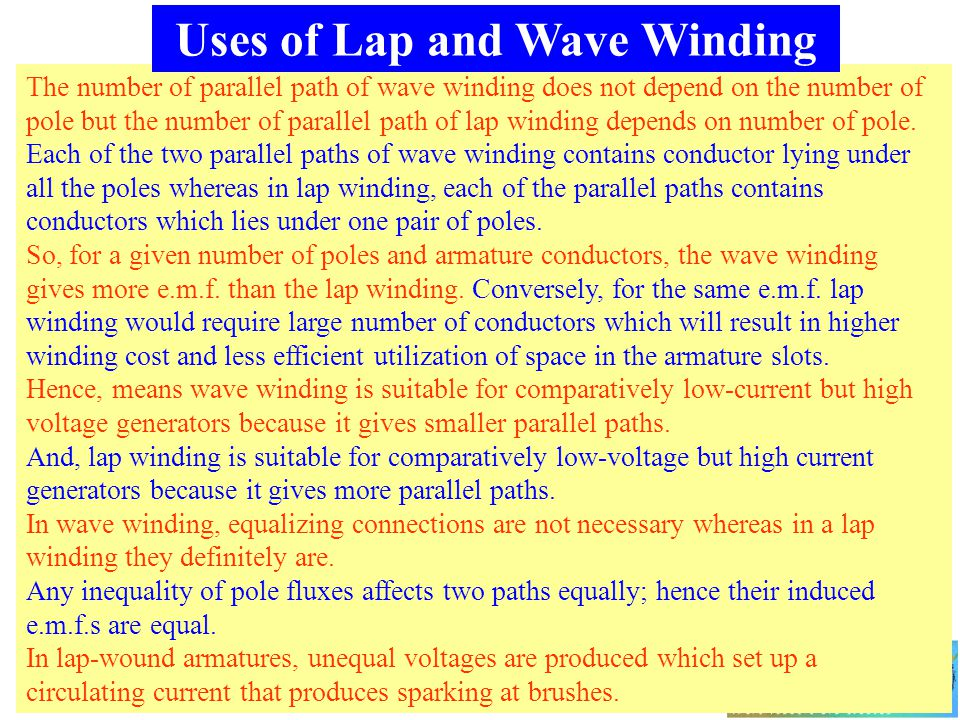 Uses of Lap and Wave Winding