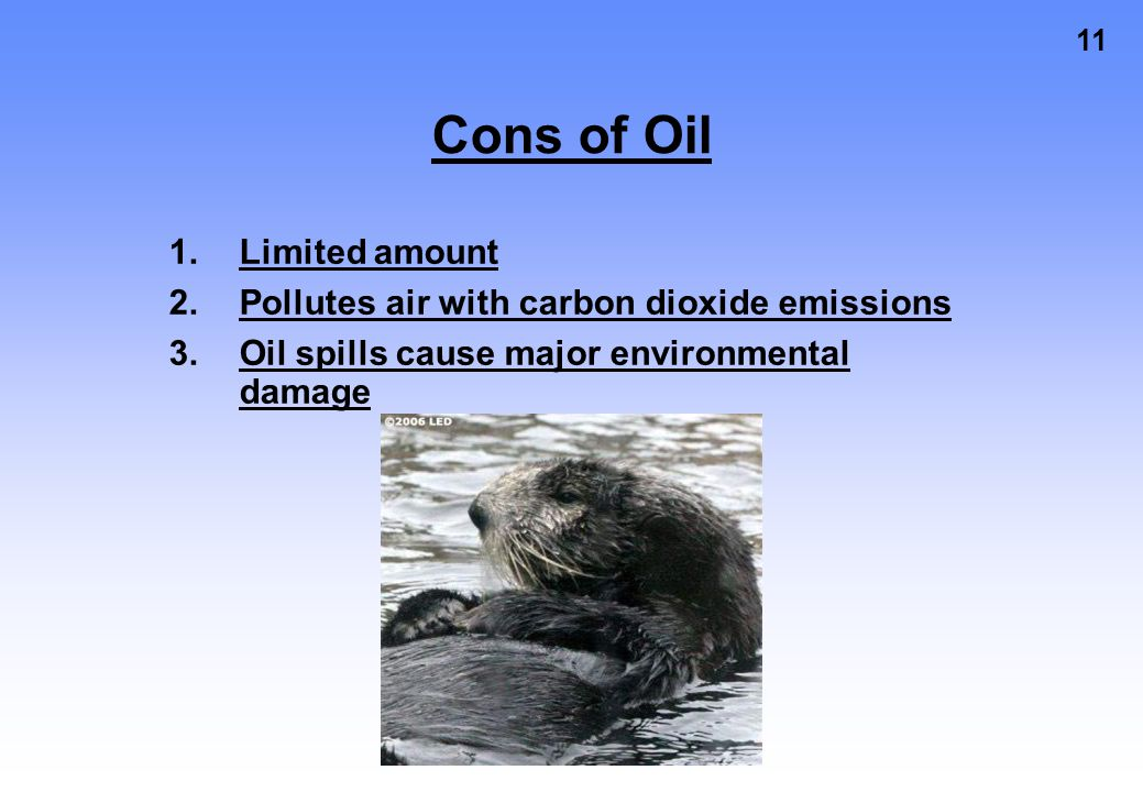 Cons of Oil Limited amount Pollutes air with carbon dioxide emissions