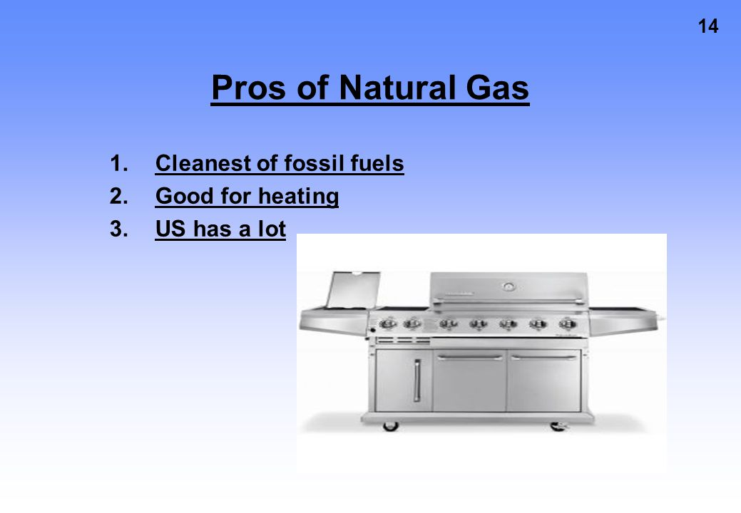 Pros of Natural Gas Cleanest of fossil fuels Good for heating