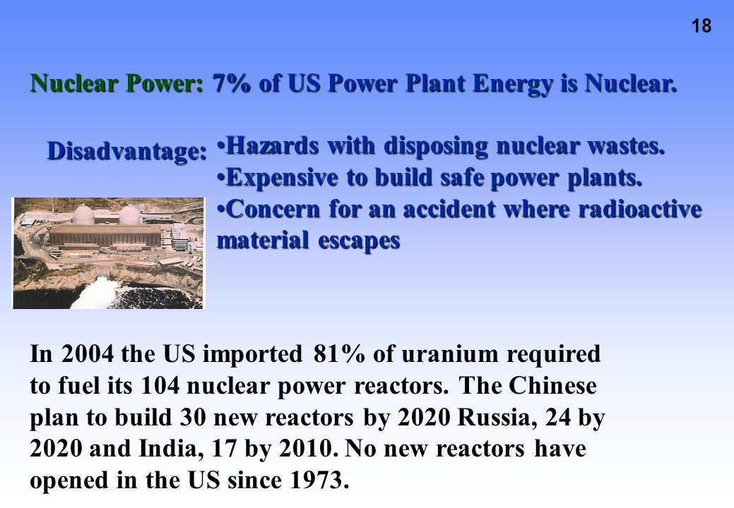 Nuclear Power: 7% of US Power Plant Energy is Nuclear.