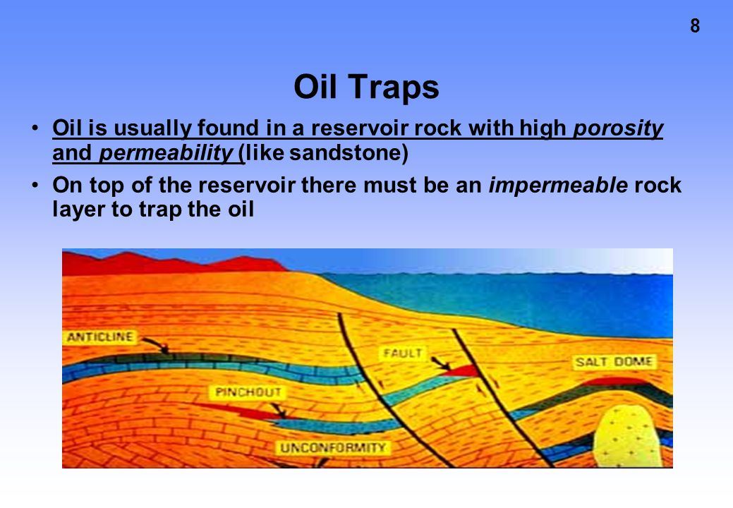 Oil Traps Oil is usually found in a reservoir rock with high porosity and permeability (like sandstone)
