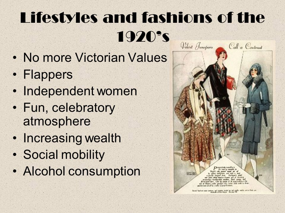 Lifestyles and fashions of the 1920's