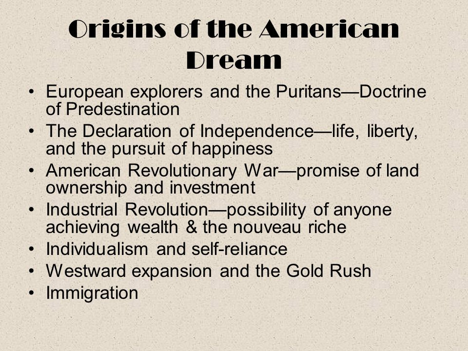 Origins of the American Dream