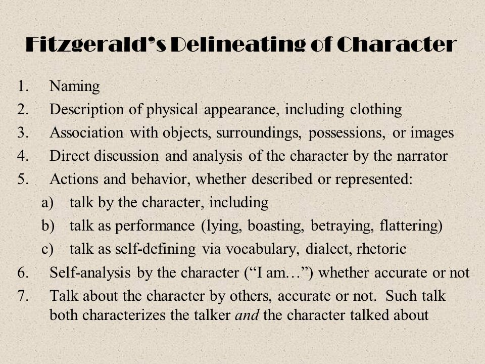 Fitzgerald's Delineating of Character