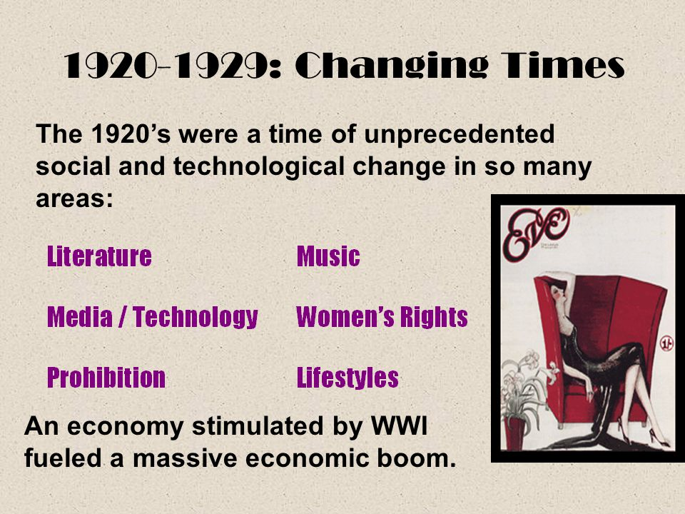 1920-1929: Changing Times The 1920's were a time of unprecedented