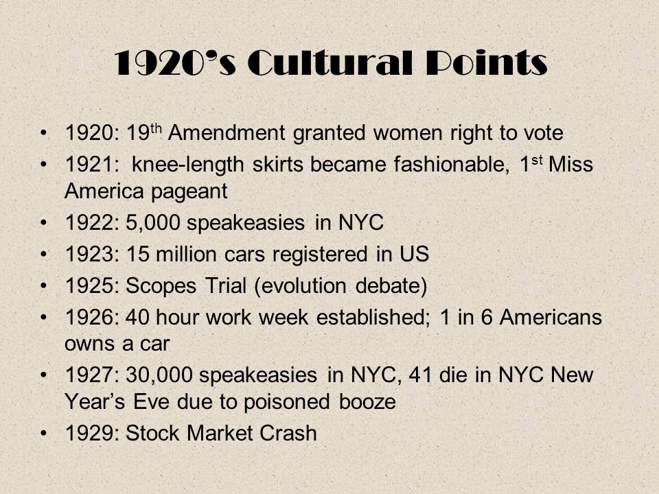 1920's Cultural Points 1920: 19th Amendment granted women right to vote. 1921: knee-length skirts became fashionable, 1st Miss America pageant.