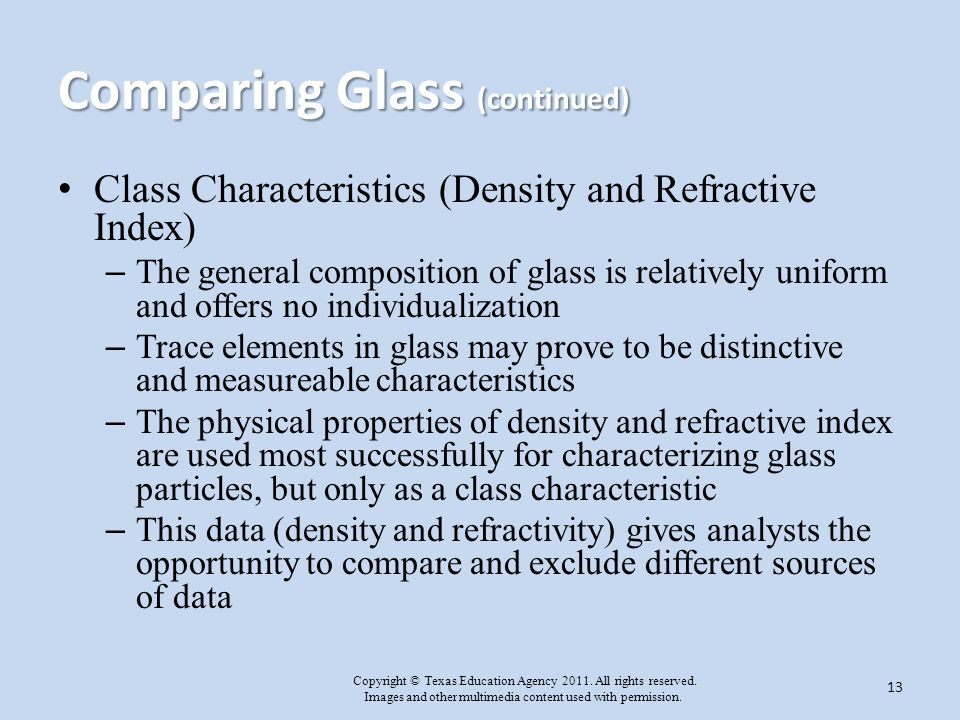 Comparing Glass (continued)
