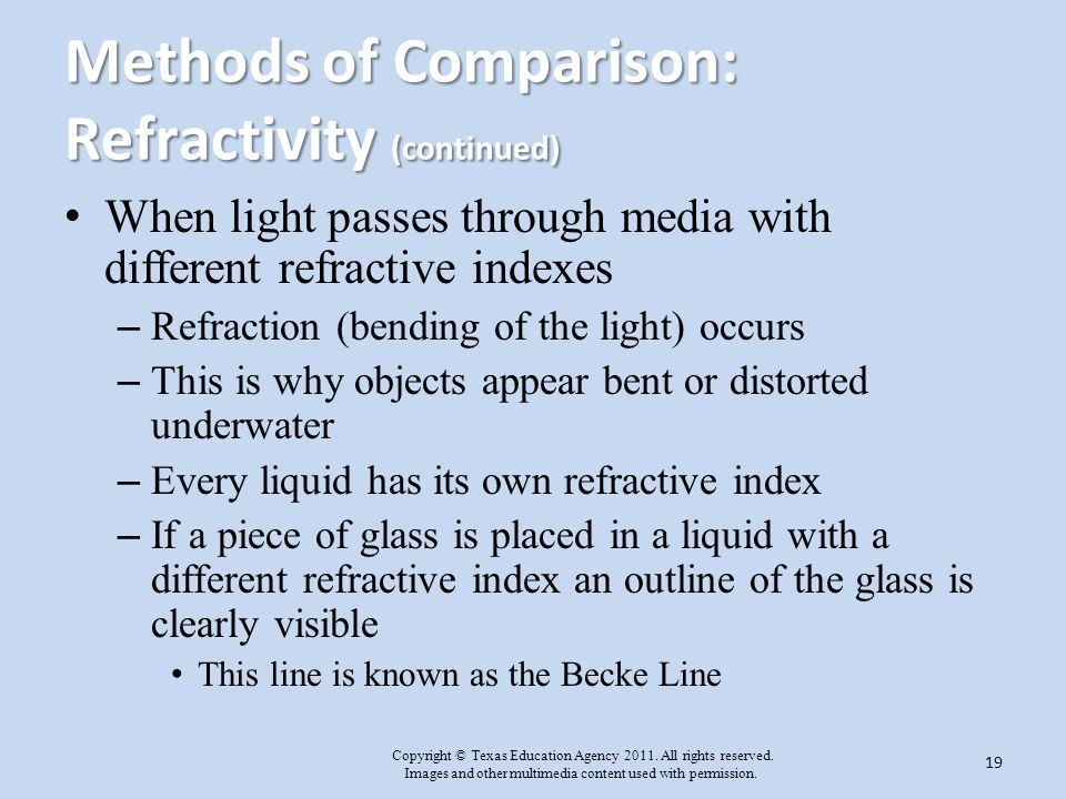 Methods of Comparison: Refractivity (continued)