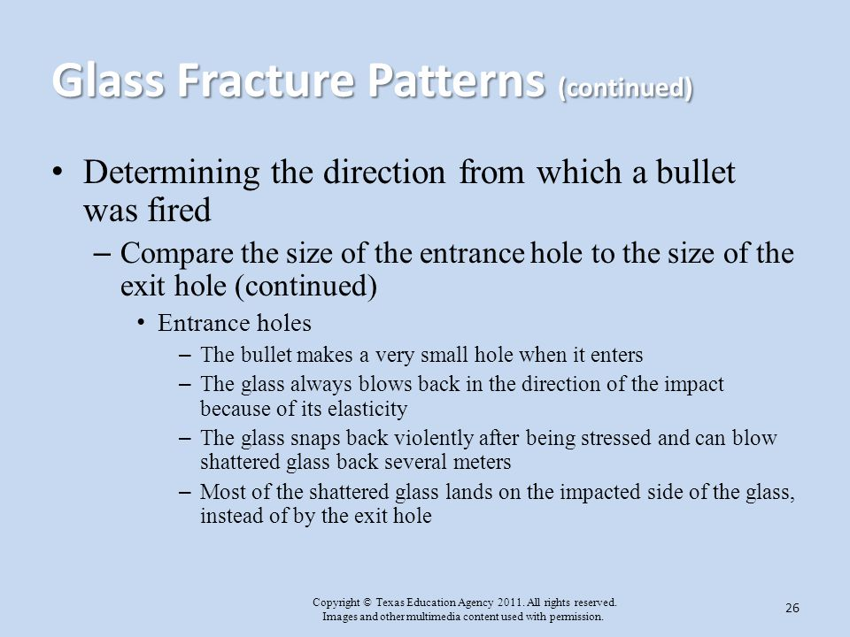 Glass Fracture Patterns (continued)