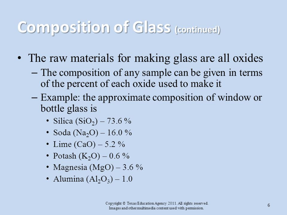 Composition of Glass (continued)