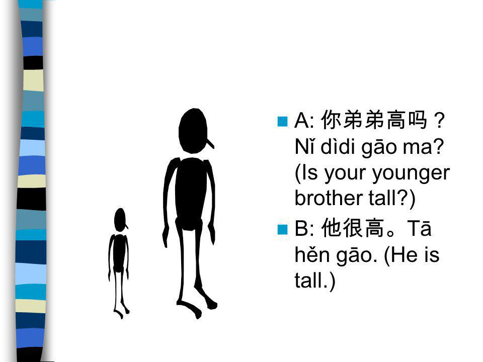 A: 你弟弟高吗?Nǐ dìdi gāo ma (Is your younger brother tall )