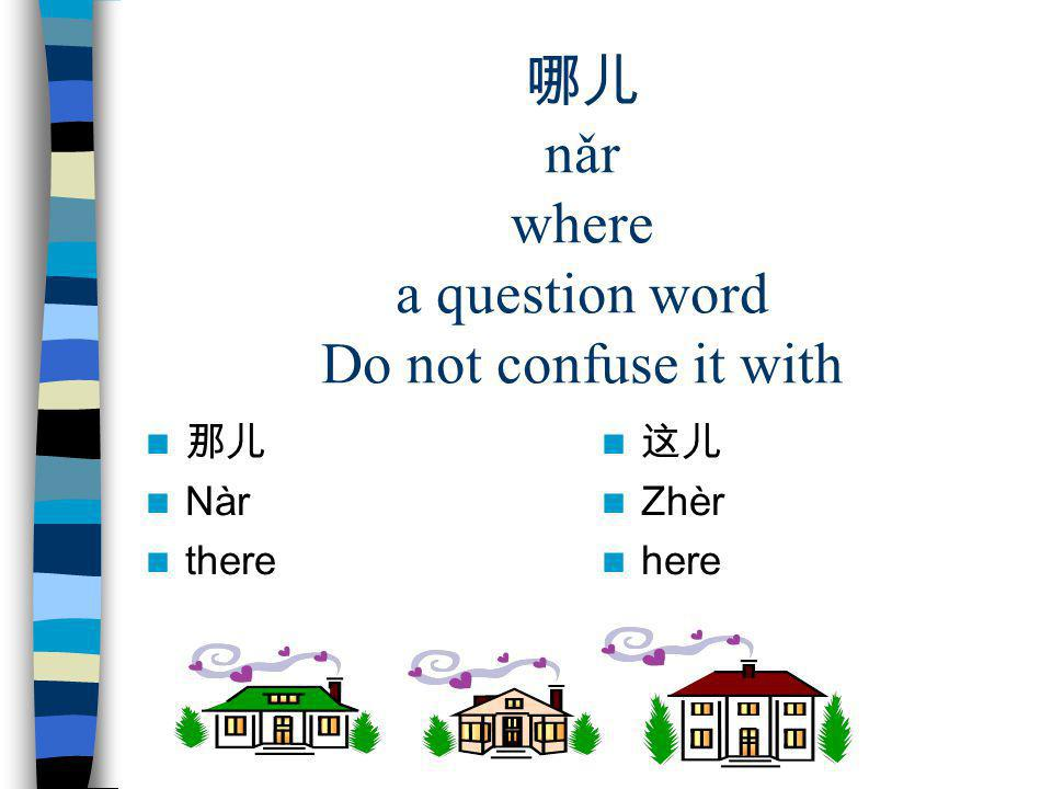 哪儿 nǎr where a question word Do not confuse it with