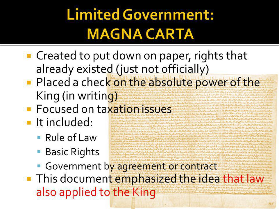 Limited Government: MAGNA CARTA