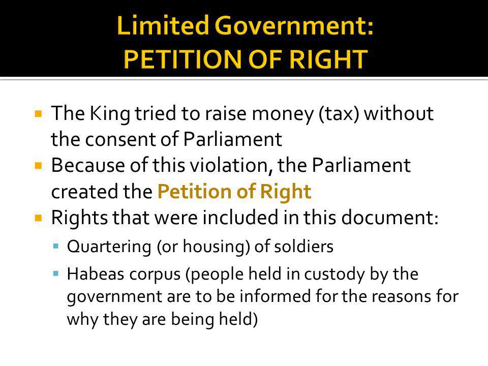 Limited Government: PETITION OF RIGHT