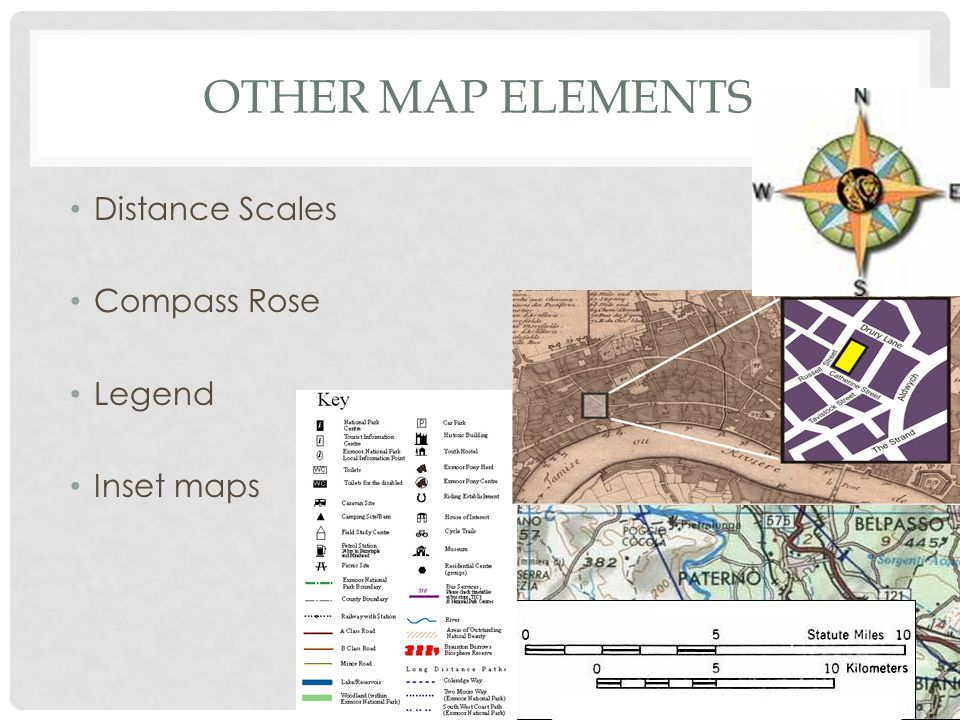 Other Map Elements Distance Scales Compass Rose Legend Inset maps
