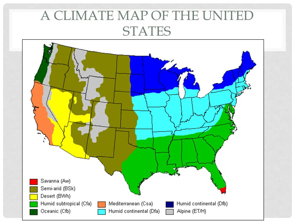 A Climate map of the United States