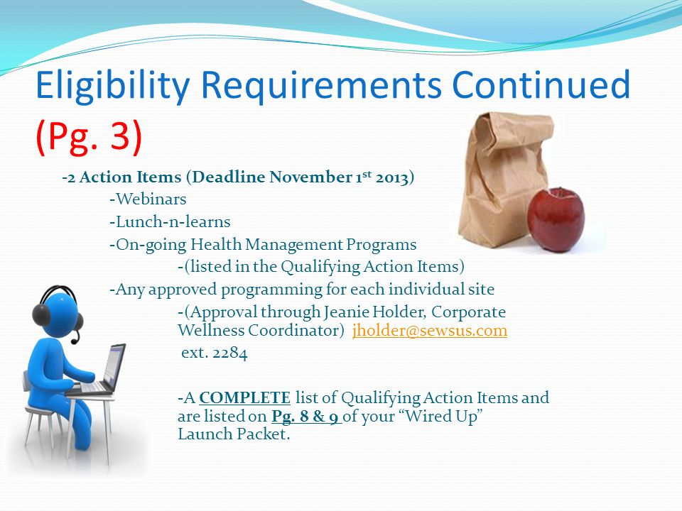 Eligibility Requirements Continued (Pg. 3)