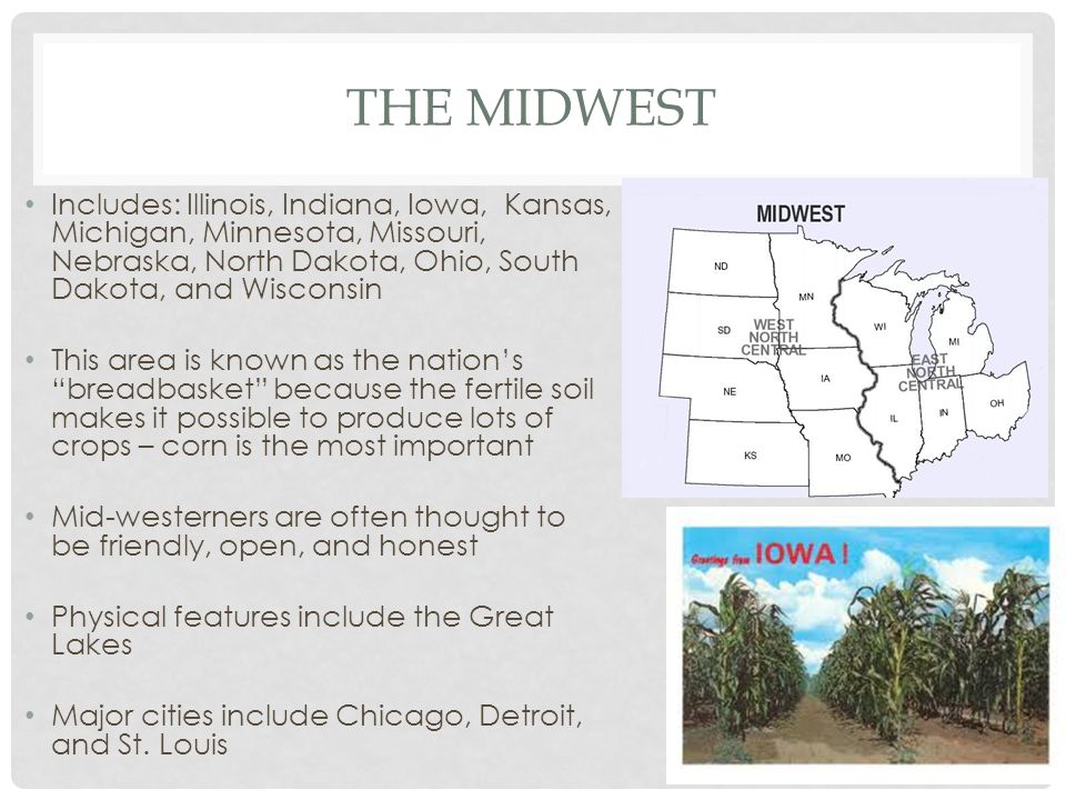 The midwest Includes: Illinois, Indiana, Iowa, Kansas, Michigan, Minnesota, Missouri, Nebraska, North Dakota, Ohio, South Dakota, and Wisconsin.