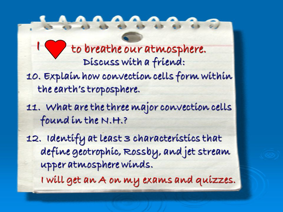 I to breathe our atmosphere. Discuss with a friend:
