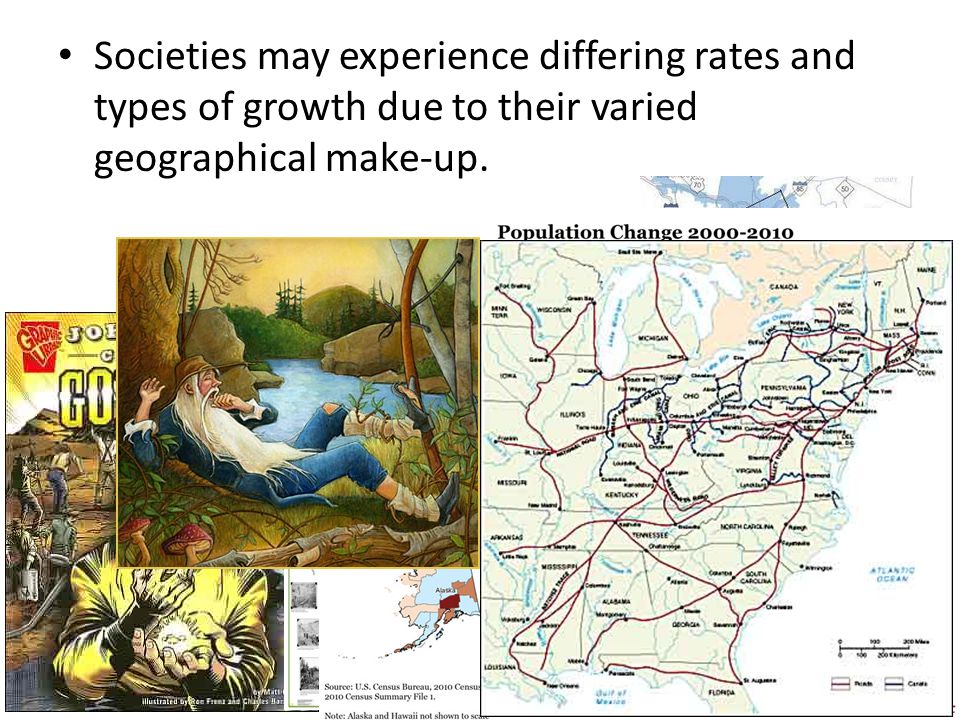 Societies may experience differing rates and types of growth due to their varied geographical make-up.