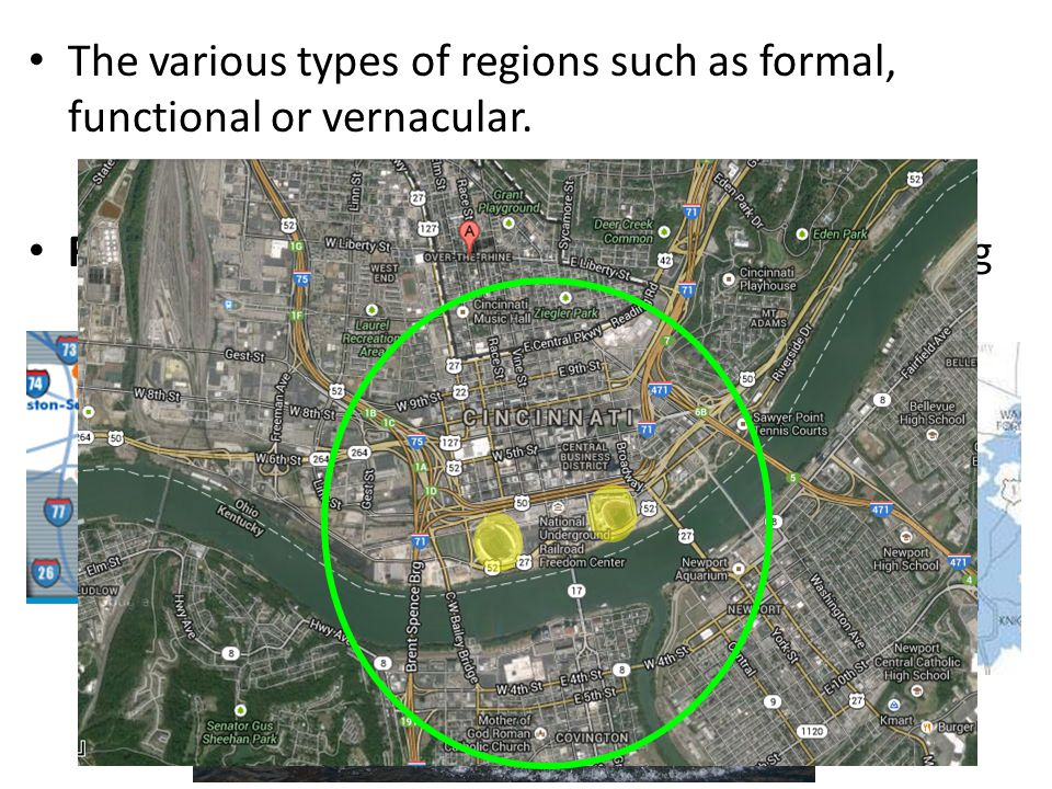The various types of regions such as formal, functional or vernacular.
