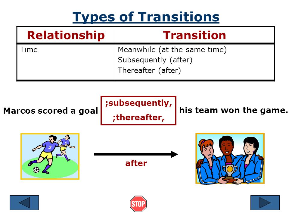 Types of Transitions Relationship Transition ;subsequently,