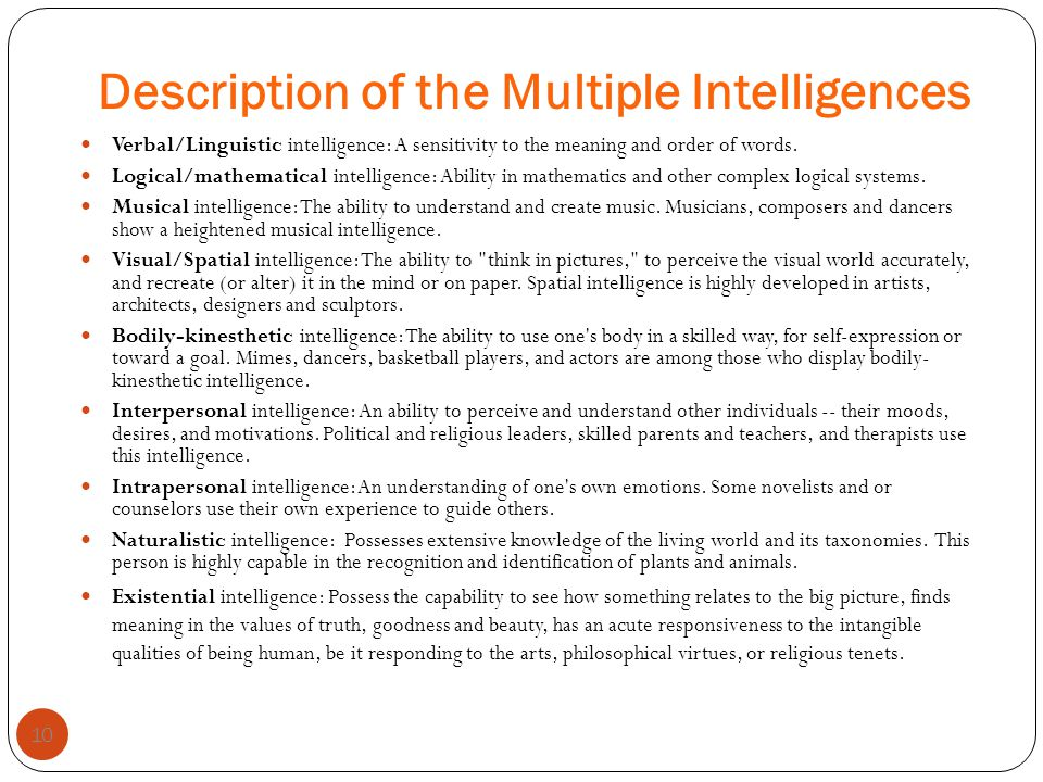 Description of the Multiple Intelligences