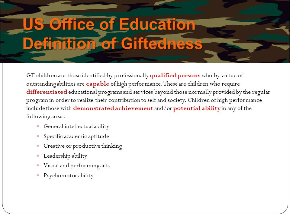 US Office of Education Definition of Giftedness
