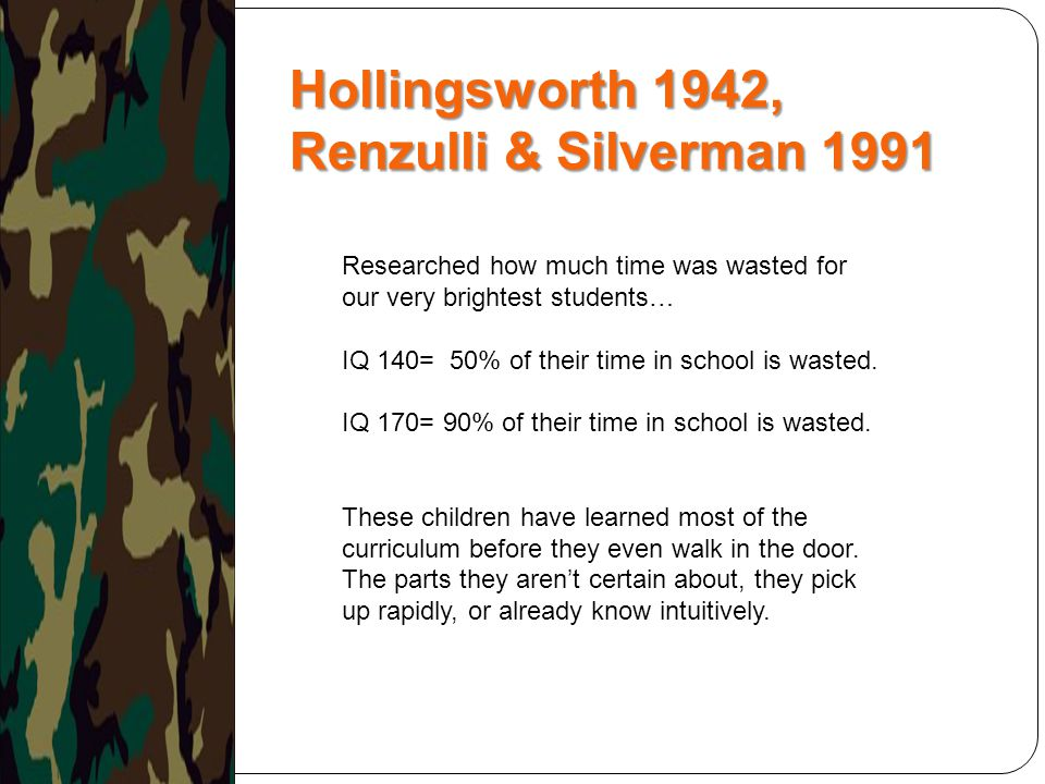 Hollingsworth 1942, Renzulli & Silverman 1991