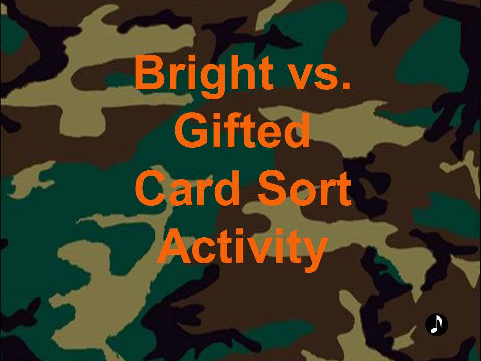 Bright vs. Gifted Card Sort Activity