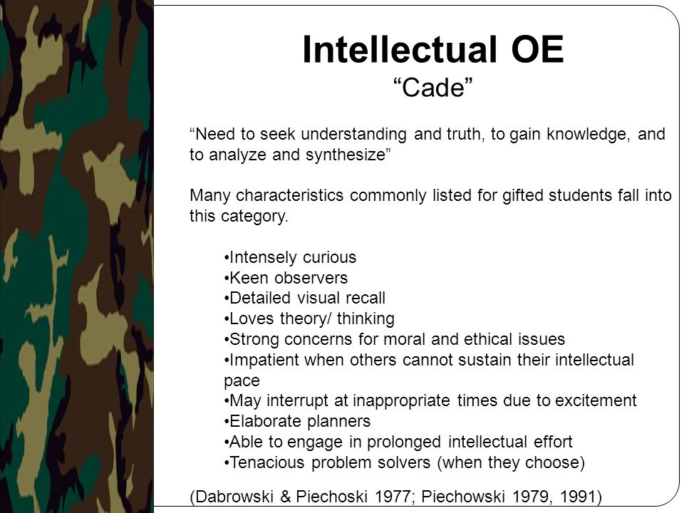 Intellectual OE Cade