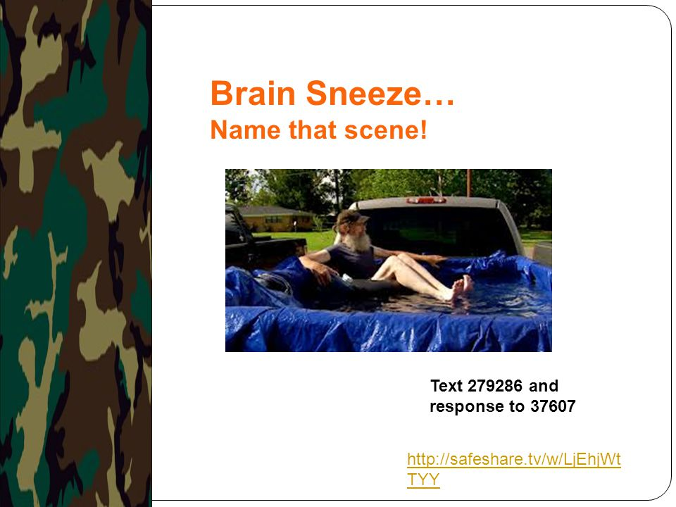 Brain Sneeze… Name that scene! Text 279286 and response to 37607