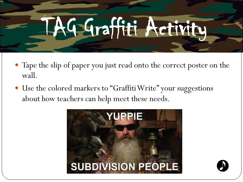 TAG Graffiti Activity Tape the slip of paper you just read onto the correct poster on the wall.