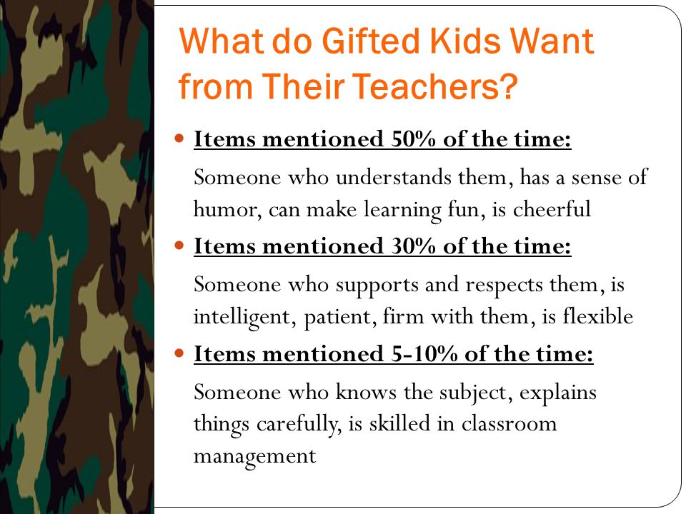 What do Gifted Kids Want from Their Teachers