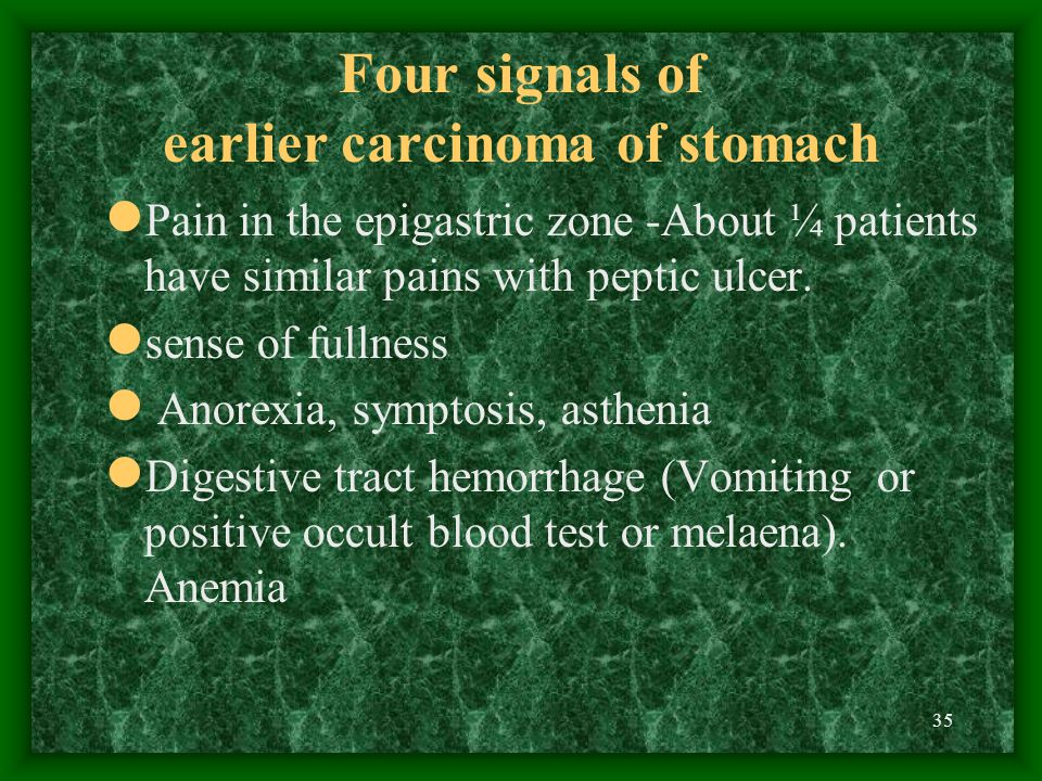 Four signals of earlier carcinoma of stomach