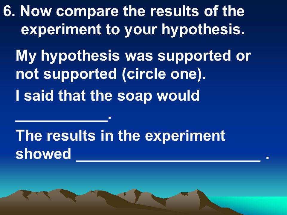 6. Now compare the results of the experiment to your hypothesis.