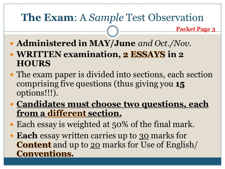 The Exam: A Sample Test Observation