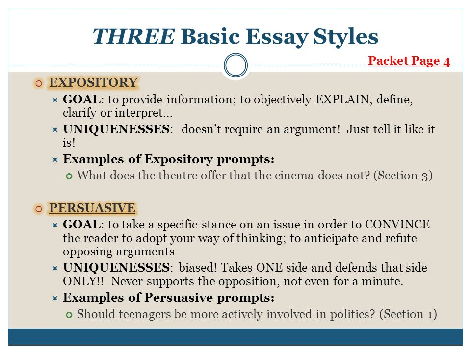 expository and argumentative essay Types of Expository Essay