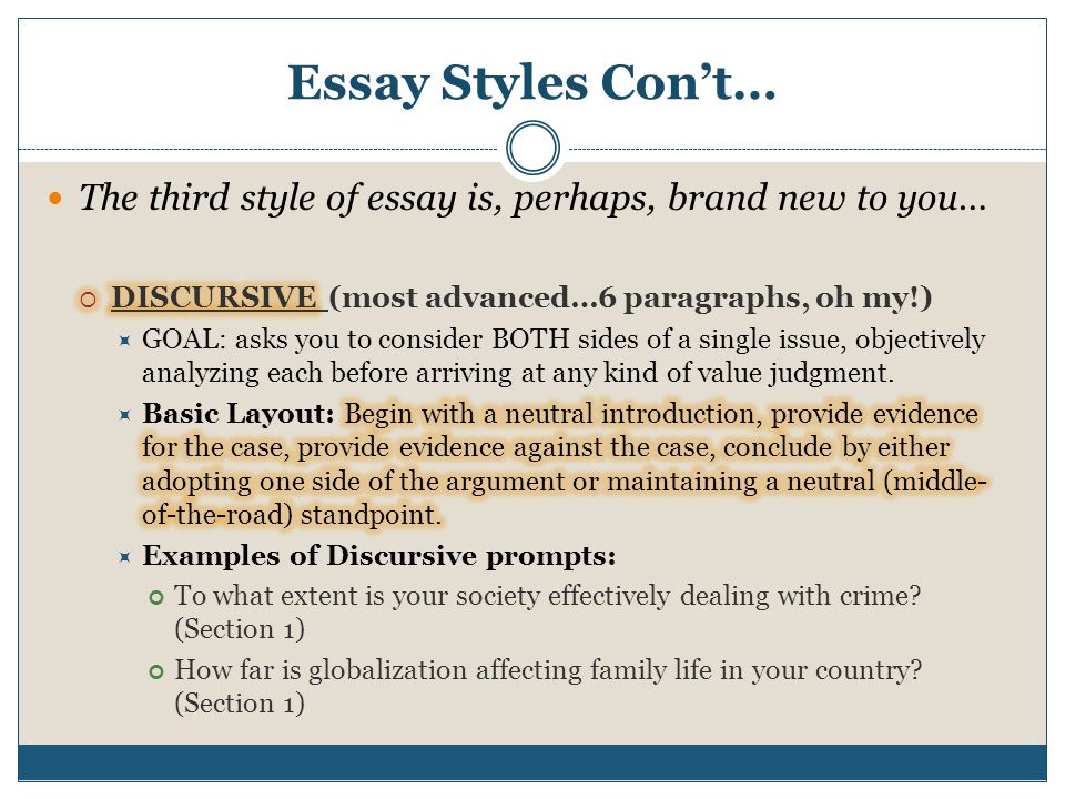 Essay Styles Con't… The third style of essay is, perhaps, brand new to you… DISCURSIVE (most advanced…6 paragraphs, oh my!)