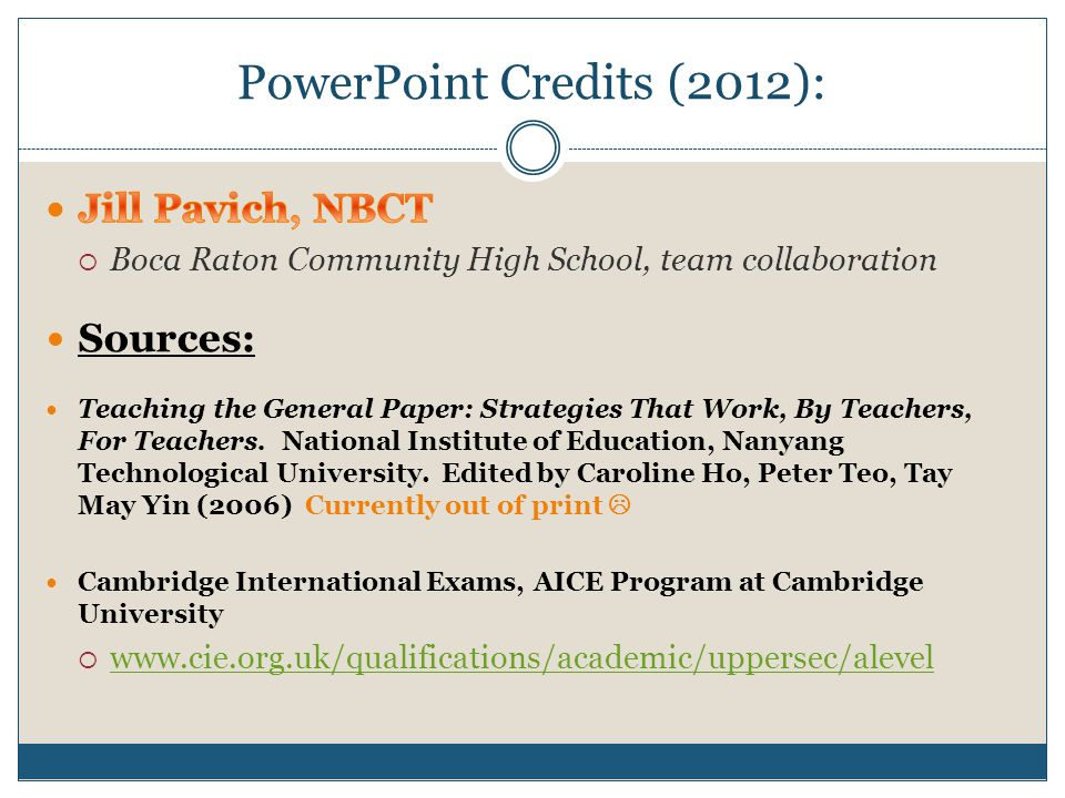 PowerPoint Credits (2012):