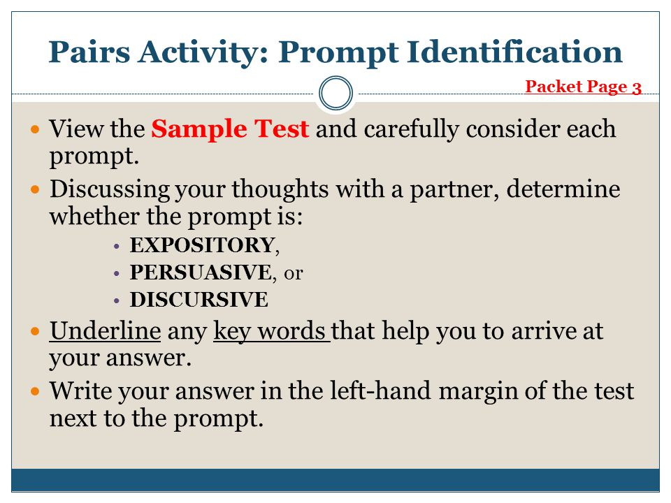 Pairs Activity: Prompt Identification