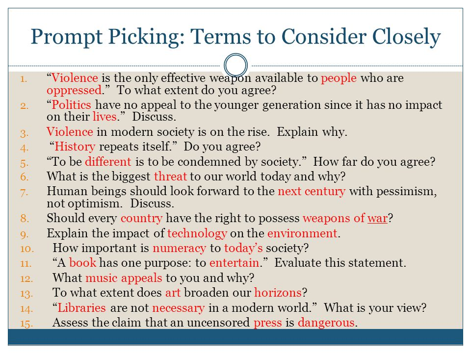 Prompt Picking: Terms to Consider Closely