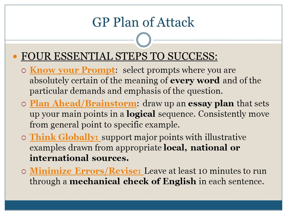 GP Plan of Attack FOUR ESSENTIAL STEPS TO SUCCESS:
