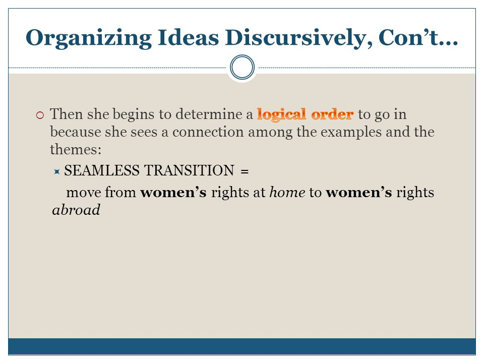 Organizing Ideas Discursively, Con't…