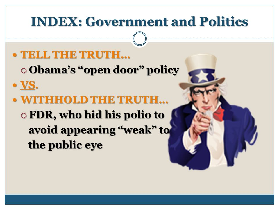 INDEX: Government and Politics