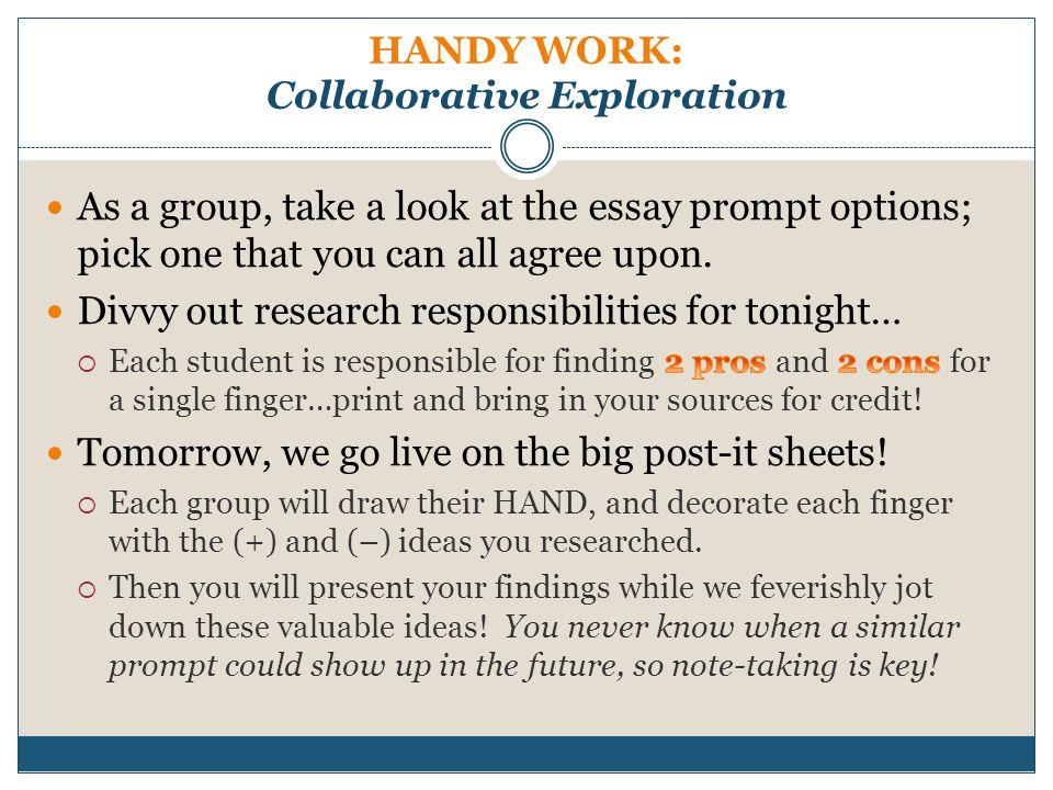 HANDY WORK: Collaborative Exploration